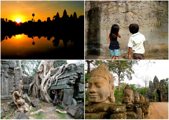 Angkor Wat at sunrise ~ Children admiring the sculptures at Bayon temple ~ Temple overtaken by the trees ~ Gods in front of the gate of Angkor Thom