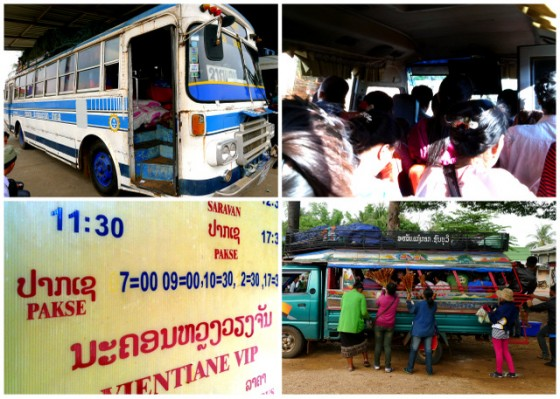 "Sizing up the slow (school) bus before departure ~ 24 passengers in a minivan designed for 15 ~ Bus ""schedules"" in Laos, ha! ~ Street vendors swarming a sorngtaaou"