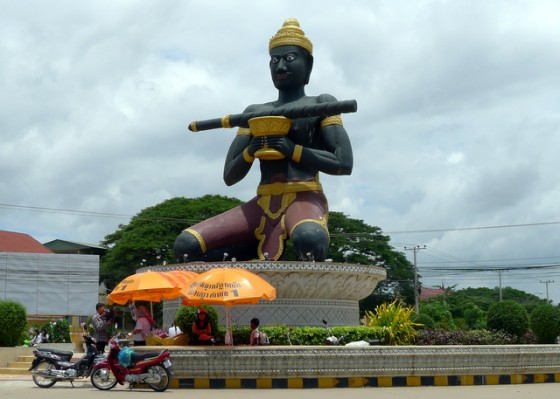 "Monumental statue in Battambang telling the story of the ""disappearing stick"" of a brutal king"