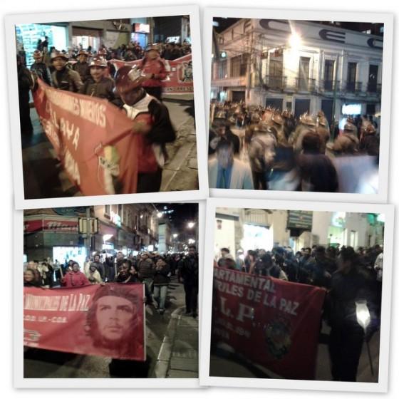 Manifestación de mineros, La Paz