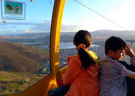 Riding the cable car to Cristo de la Concordia overlooking Cochabamba