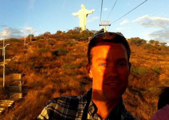 Rays of the setting sun through the cable car as I descend from Cristo de la Concordia in Cochabamba
