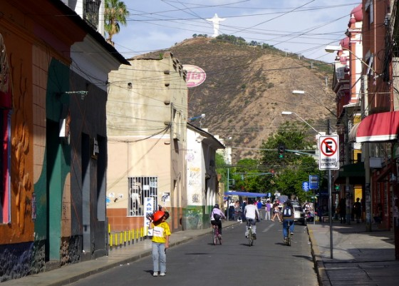 The strangely deserted streets of Cochabamba beneath its iconic Cristo de la Concordia