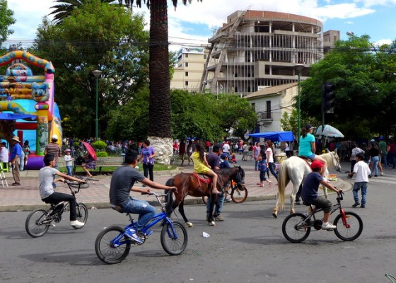 Bicyclists aren't the only traffic on Pedestrian Day, even a pony and young rider gets in on the action!
