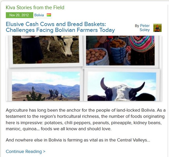 Kiva Fellows Blog 4: Challenges Facing Bolivian Farmers Today
