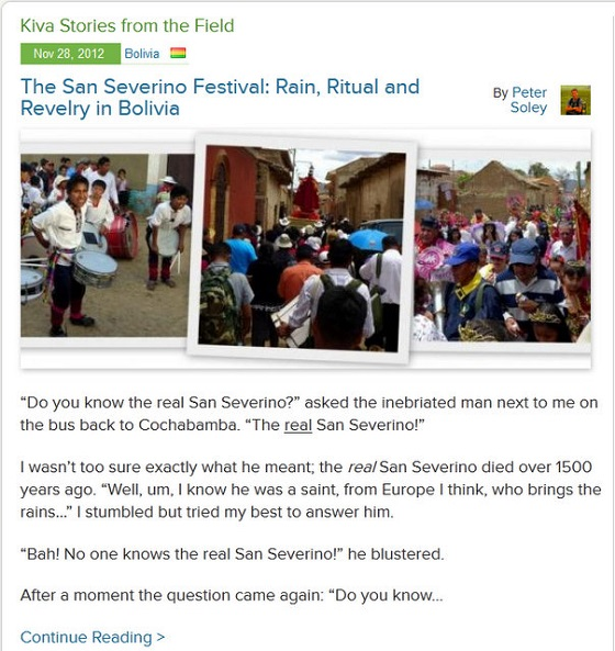 Kiva Fellows Blog 5: The San Severino Festival - Rain, Ritual and Revelry in Bolivia