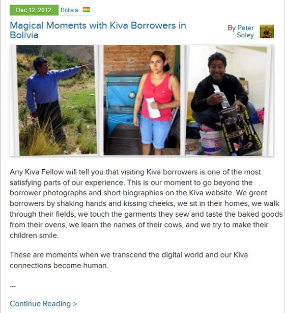 Kiva Fellows Blog 6: Magical Moments with Kiva Borrowers in Bolivia