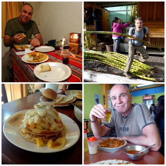 Pizza and boxed wine in our hotel room... sometimes you just want to eat in! ~ Peter protecting the sugar cane juice lady ~ Our favorite breakfast: a pancake pile with fresh fruit ~ Sharing a HUGE portion of shrimp and rice at a local eatery