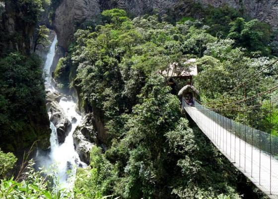 El Pailón del Diablo (The Devil's Cauldron), a dramatic waterfall plunging between sheer rock walls into a deep depression