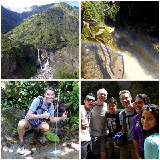 The Agoyán Falls off in the distance ~ Rainbows in The Devil's Cauldron ~ Peter wowed by a surprise waterfall not in the guidebooks ~ Our new friends we met at one of the lookout points