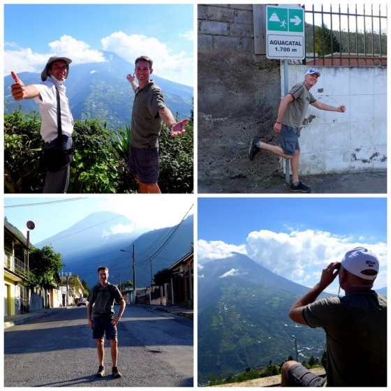 Rogelio and Peter showing off Tungurahua's peak ~ Paul imitating an evacuation route sign ~ Peter in Baños with Tungurahua volcano in the distance ~ Paul peeking at the peak