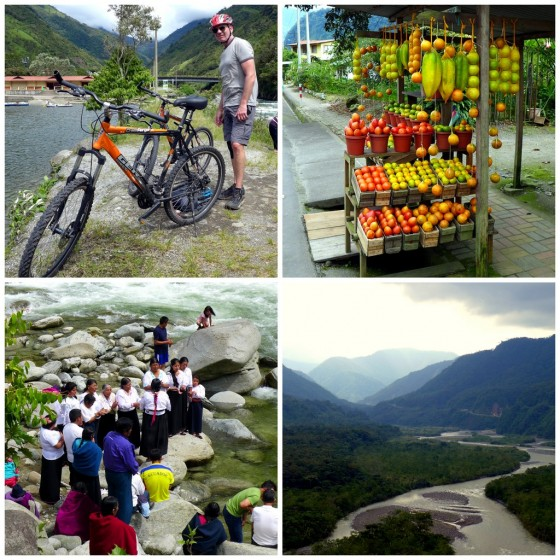 Our surprisingly sturdy Chinese bikes ~ Roadside fruit stands for a quick energy boost ~ Local women celebrating a riverside baptism ~ Views of the Pastaza River coming out of the Andes