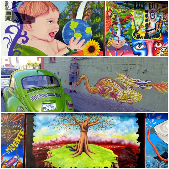 Colorful murals adorning the streets of Baños
