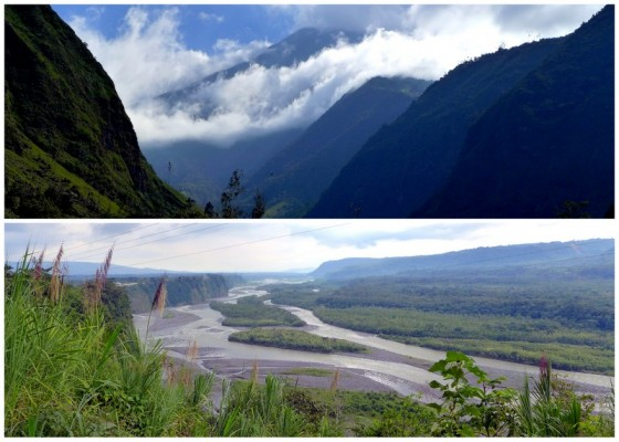 In the Andes at the start of the bike ride (1850 m) ~ In the Amazon at the end of the bike ride (900 m)