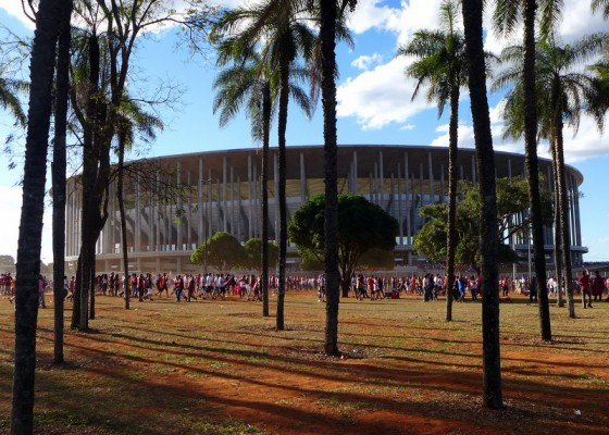 "Brasília's sparkling new soccer stadium – one of Brazil's unofficial ""churches"" for the <em>fútebol</em> faithful – recently opened in advance of the 2014 World Cup."