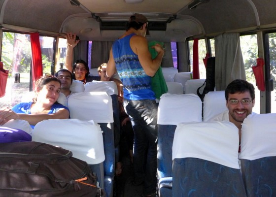 Buenos día, Chile! A bus with Chilean musicians arrives at Canto Guardian