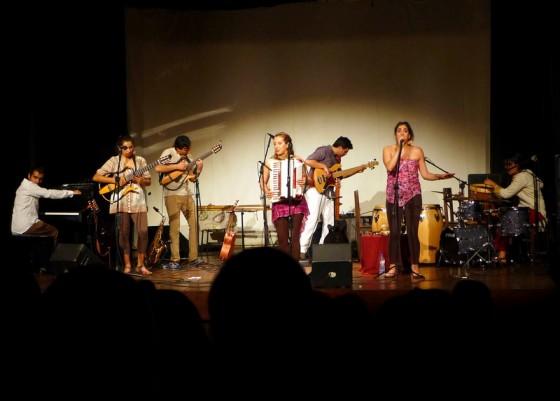 The Chilean folk band Merkén performing at the Teatro de Pirenópolis