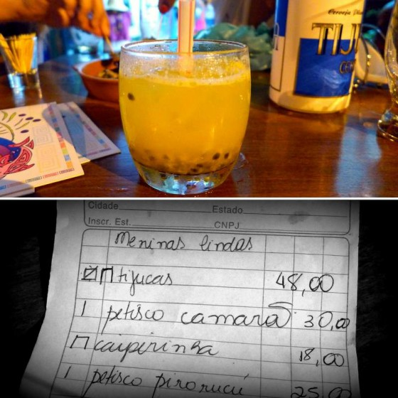 "My perfect cocktail: caipirujá = caipirinha with maracujá (passionfruit) ~ A funny bar tab… our table was identified as the meninas lindas, the ""beautiful babes."""