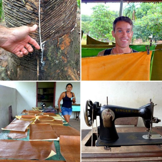 Scenes from an Amazonian rubber village (clockwise from top left): Milky rubber flows down the grooves cut in a Hevea brasiliensis tree ~ Among the curing and multi-colored sheets of latex ~ Ancient Singer sewing machines are modern technology in traditional Maguarí village ~ Cut latex pieces ready to be turned into waterproof bags