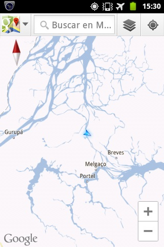 "The eccentric waters of the ""Amazon River"" – a vast network of countless waterways – as seen from the GPS on my mobile phone."