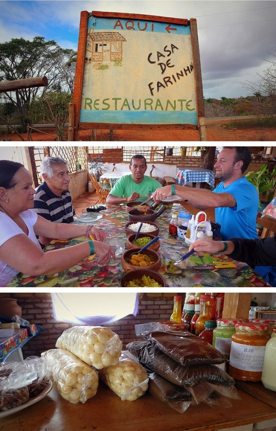 A healthy lunch of hearty proportions at a rural casa de farinha where home-cooked meals and takeaway sweets are prepared on a wood-fueled stove.