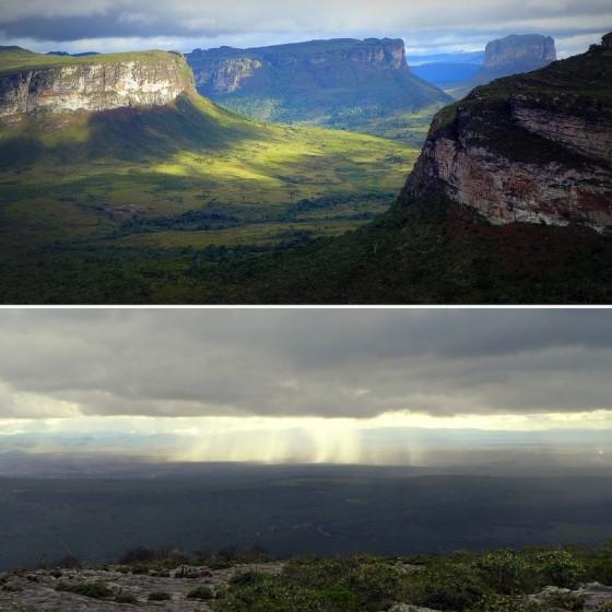 Late afternoon sun on the table mountains in the Vale do Capão ~ Distant showers shirt across the <em>sertão</em> plains of Chapada Diamantina.