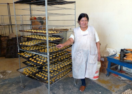 Celestina, a Kiva borrower, in her bakery